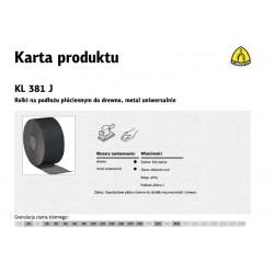 KLINGSPOR ROLKA NA PODŁOŻU PŁÓCIENNYM KL381J 200mm gr.100  (50mb)