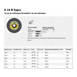 KLINGSPOR TARCZA DO SZLIFOWANIA METALU 125mm x 6,0mm x 22,2mm A24N Supra INOX