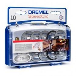 DREMEL ZESTAW DO CIĘCIA SPEED CLIC SC690 TARCZE MET. 10szt + TRZPIEŃ