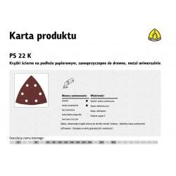 KLINGSPOR KRĄŻEK ŚCIERNY SAMOPRZYCZEPNY TRÓJKĄTNY 96mm  PS22K gr. 60 GLS15 /50szt.