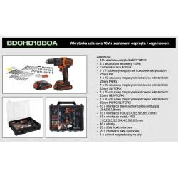 BLACK+DECKER WKRĘTARKA UDAROWA 18V 2x1,5Ah LI-ION + AKCESORIA + ORGANIZER