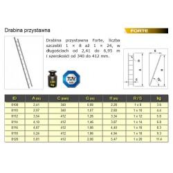 DRABINA FORTE OPIERALNA  8-STOPNI 2,41m
