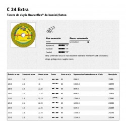 KLINGSPOR TARCZA DO CIĘCIA BETONU/KAMIENIA 180mm x 3,0mm  C24EX Extra