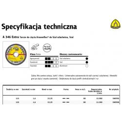 KLINGSPOR TARCZA DO CIĘCIA METALU 115mm x 1,6mm x 22,2mm A346 Extra