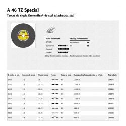 KLINGSPOR TARCZA DO CIĘCIA METALU 230mm x 1,9mm x 22,2mm  A46 TZ Special