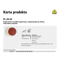 KLINGSPOR KRĄŻEK ŚCIERNY SAMOPRZYCZEPNY 125mm  PL28CK gr.180 /50szt.